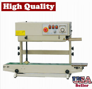 Table Top Vertical Stainless Steel Band Sealer W Ink Printer Continuous Sealing