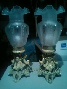 Pair Of Victorian Cast Iron Cherub Mantle Luster S Lamps