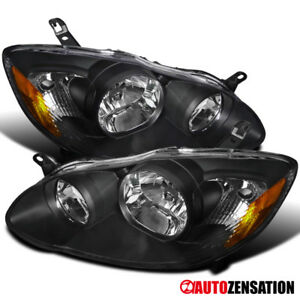 For 03 08 Toyota Corolla Ce Le 4door Sedan Jdm Crystal Black Headlights