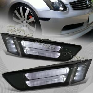 For 2003 2007 Infiniti G35 Coupe Smoke Led Strip Front Bumper Side Marker Lights
