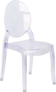 Large Size Ghost Stack Chair Transparent Crystal Restaurant Banquet Furniture