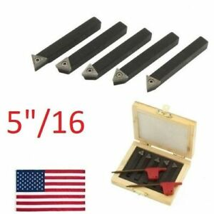5 Pc 5 16 Indexable Carbide C6 Insert Tool Bit Holder Mini Lathe Set