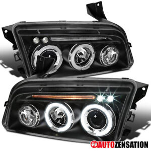 For 2006 2010 Dodge Charger Black Led Halo Rims Projector Headlights Lamps Pair
