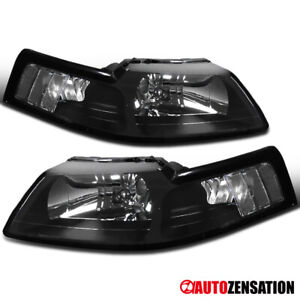 For 1999 2004 Ford Mustang Black Headlights Lamps Replacement Left Right 99 04