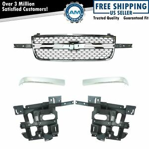 Front Chrome Grille W Molding Trim Head Light Mounting Bracket Set Of 5 New