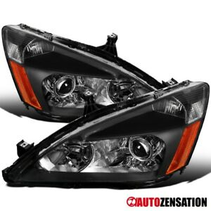 For 2003 2007 Honda Accord Black Retro Style Projector Headlights Lamps