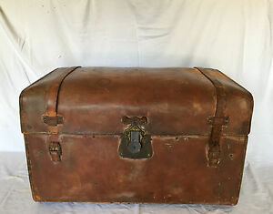 Antique Late 1800s Martin Maier Sole Leather Travelers Steamer Trunk