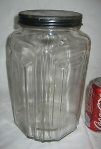 2 Antique Usa Art Deco Country Primitive Hoosier Necco Candy Glass Jar Bottle