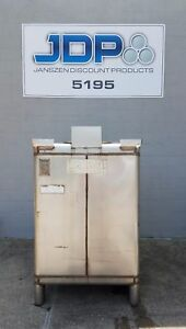 Used Stainless Steel Tote 470 Gallon Ibc Tank Custom Metalcraft Dirty Inside