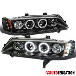 For 94 97 Honda Accord 2dr 4dr Black Led Drl Halo Rim Projector Headlights