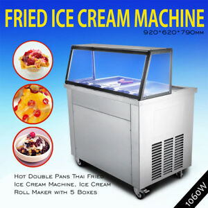 Thai Fried Icecream Machine With Double Pans ice Cream Roll Maker local Pickup