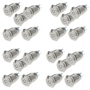 20pcs 16mm 12v Led Power Button Switch Push Self Latching On off Waterproof