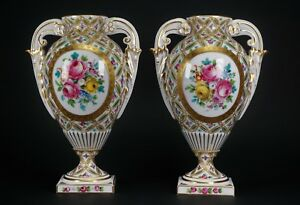 Antique Sevres Limoges Hand Painted Pair Of Gorgeous Porcelain Urns