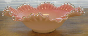 Brides Basket Antique Victorian Glass Bowl Cased Pink Ruffled Fluted Maker
