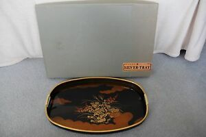 Vntg Japan Black Gold Lacquer Ware Rectangular Tray Wrapped Handles Nib