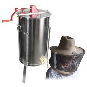 Pro 3 Frame Ss Honey Extractor Beekeeping Supply With Natural Cotton Hat Veil