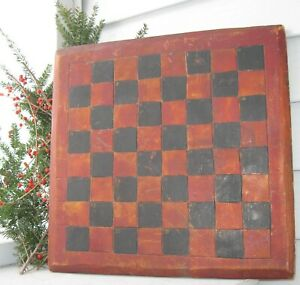 Antique Spectacular Wood Gameboard Checkerboard Old Black Red Paint Beveled Edge