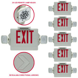 6 pack led Red Exit Sign Emergency Dual Swivel Light Compact Combo Fire