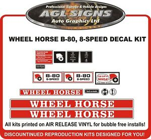 Wheel Horse B 80 8 Speed Replacement Tractor Decal Set 4 Speed Also
