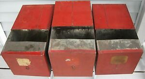 Antique Lot Of 3 Old Red Paint Tin Country Store Bins With Pull Out Draw