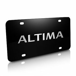 Nissan Altima 3d Black Stainless Steel License Plate