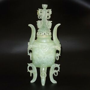 Fabulous Antique Chinese Green Jade Jadeite Censer Incense Burner