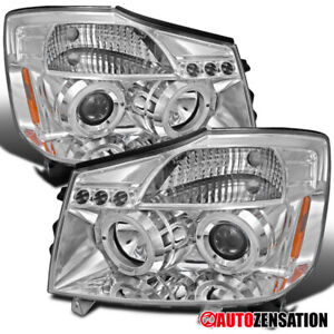 For 2004 2007 Nissan Titan Armada Clear Led Halo Projector Headlights Lamps