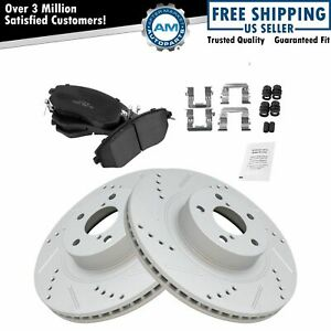Front Performance Drilled Slotted Coated Brake Rotor Posi Ceramic Pad Kit New