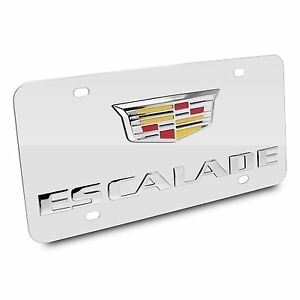 Cadillac Escalade Crest 3d Logo Chrome Stainless Steel Auto License Plate