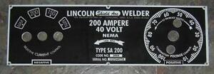 Lincoln Electric Arc Welder Sa 200 m 6549 025 Aluminum Control Plate