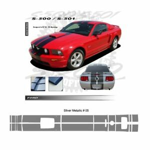 Ford Mustang Gt 2005 2009 W Hood Scoop Stripes Graphic Kit Metallic Silver
