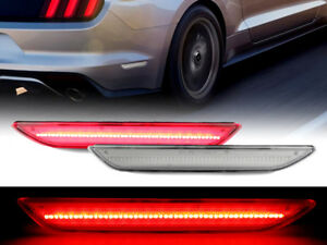 Pair Of 48 Smd Red Led Clear Rear Bumper Side Markers For 2015 2017 Ford Mustang
