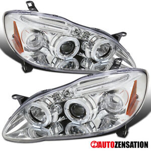 For 2003 2008 Toyota Corolla Clear Led Drl Strip Halo Rims Projector Headlights