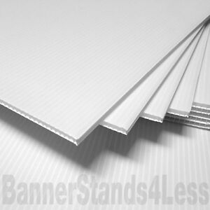 40 Pack 24x36 Corrugated 4mm Yard Bandit Sign Board Blank Sheet White 36 Flute