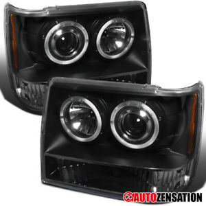 93 96 Jeep Grand Cherokee Black Halo Projector Headlights