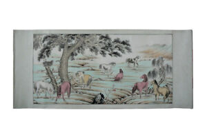 Chinese Color Ink 8 Horse Scenery Scroll Painting S1307