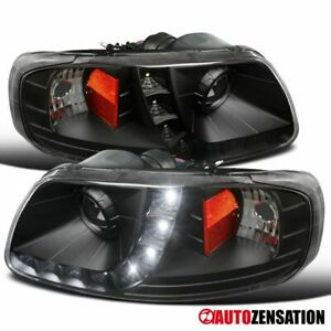 For 1997 2003 Ford F150 Expedition Smd Led Drl Black Projector Headlights Lamps