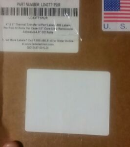 Thermal Transfer White 4x3 Shipping Labels 12 Rolls Of 500