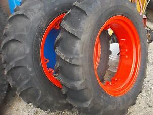 Two 11 2x24 Kubota 6 Ply Tubeless Farm Tractor Tires W 4 Loop Wheels