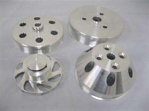 Small Block Chevy Billet Aluminum Serpentine Pulley Kit Short Water Pump Set 350