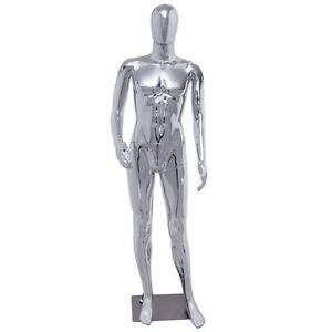 Male Plastic Glossy Full Body Mannequin Dress Form Display With Base Silver Us