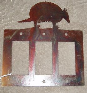 Armadillo Outlet Light Switch Cover Metal Brass Western Southeast Texas Decor