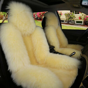 1pc Car Genuine Australian Sheepskin Front Seat Cover Long Wool Fur Multi Color