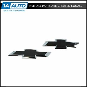 Oem 84346557 Tailgate Grille Mounted Black Bow Tie Emblem Pair For Chevy Pickup