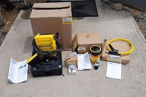 Enerpac Rch 302 Hollow Ram Set W Puj 1201b Hydraulic Pump W Hose