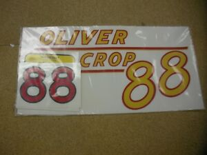 Oliver 88 Row Crop Tractor Decal Set Yellow Numbers New Free Shipping