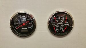 Black Gauge 5 Quad Set With Programmable Speedo Street Rod Hot Rod Universal