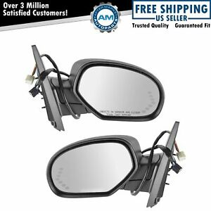 Mirror Power Folding Heated Signal Puddle Memory Textured Black Pair Set For Gm