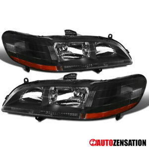 For 1998 2002 Honda Accord 2dr 4dr Pair Black Headlights Head Lamps amber