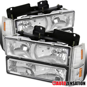 94 98 Gmc C10 Sierra Yukon Chrome Headlights corner Bumper Lamps amber Reflector